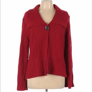 JM COLLECTION Single Button Chunky Knit Cardigan